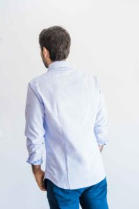 camisa oxford blue white tras